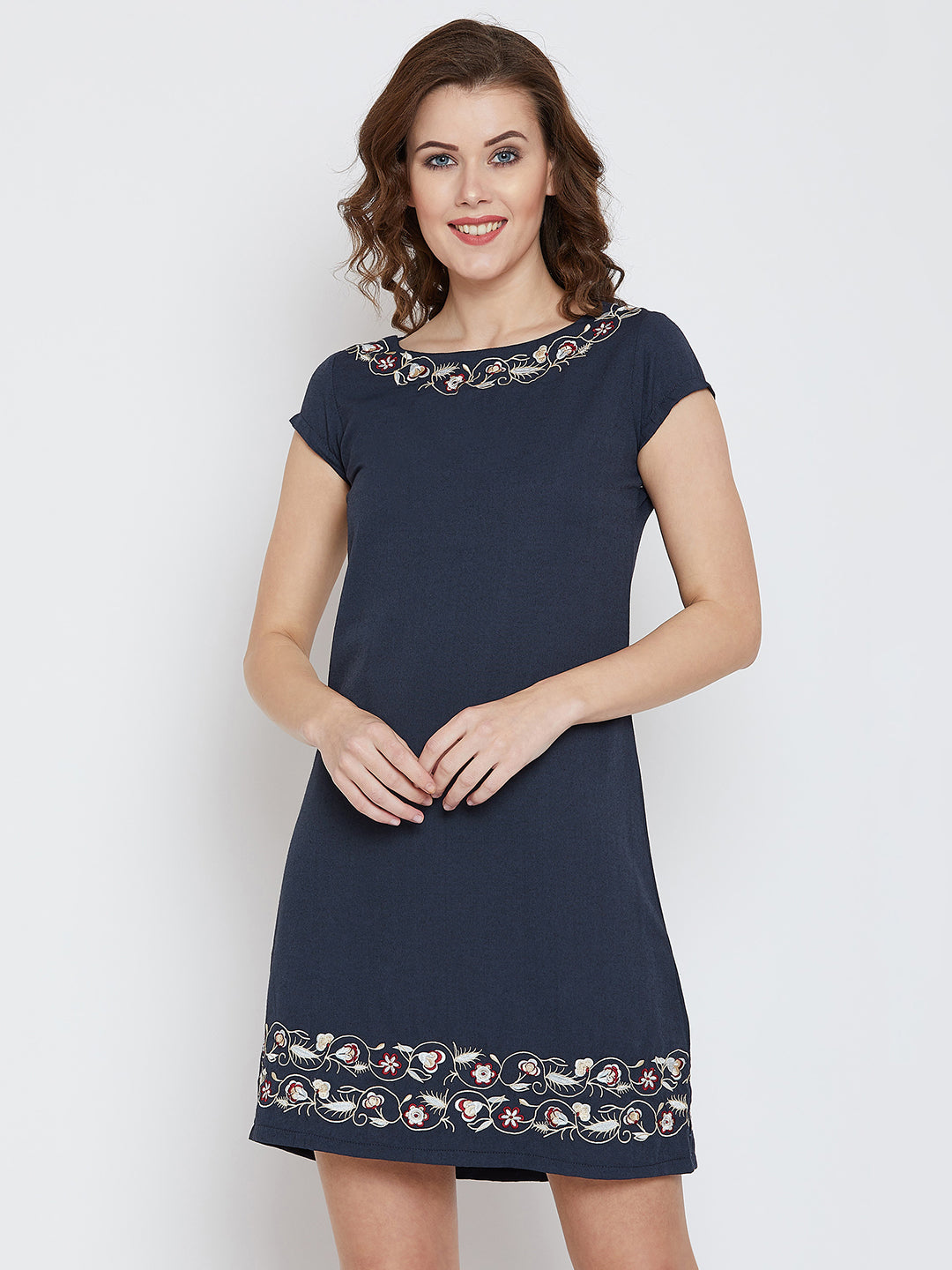JUMP USA Women Navy Blue Embroidered Sheath Dress - JUMP USA