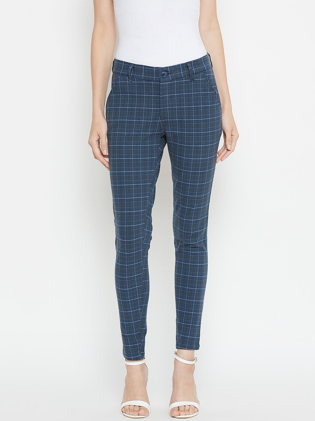 Women Checked Slim fit Casual Trousers - JUMP USA