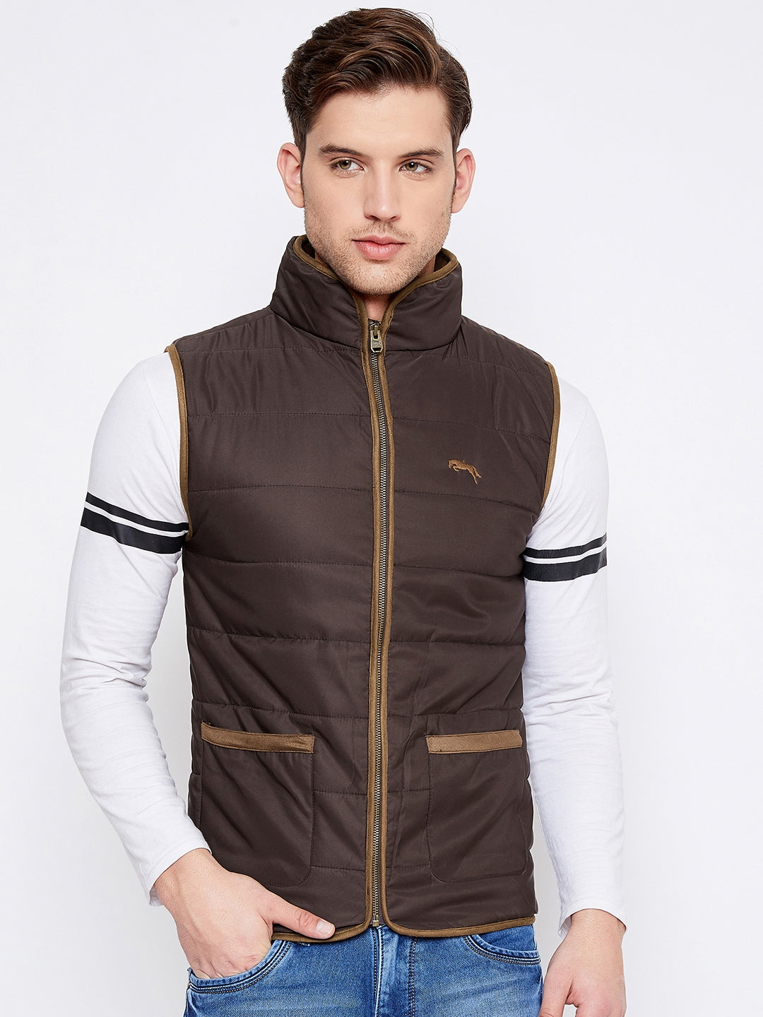 JUMP USA Men Coffee Brown Sleeveless Padded Jacket