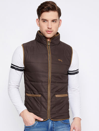 JUMP USA Men Coffee Brown Sleeveless Padded Jacket - JUMP USA