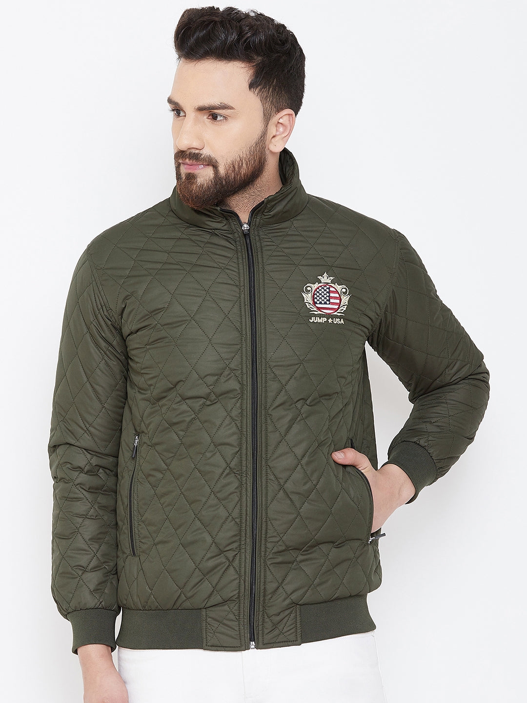 JUMP USA Men Green Design Casual Quilted Jacket