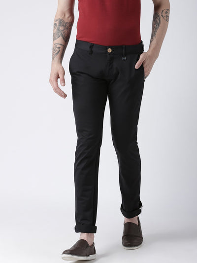 Men Black Slim Fit Solid Chinos - JUMP USA