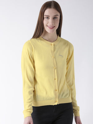 Women Cotton Casual Long Sleeve  Yellow Winter Sweaters