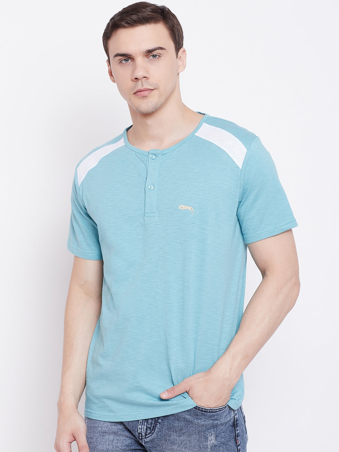 JUMP USA Men Blue Solid Round Neck T-shirt - JUMP USA