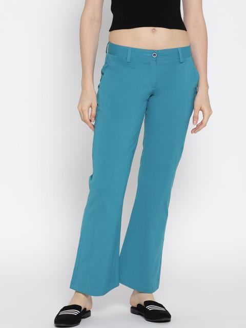 Women Solid Flared Trousers - JUMP USA