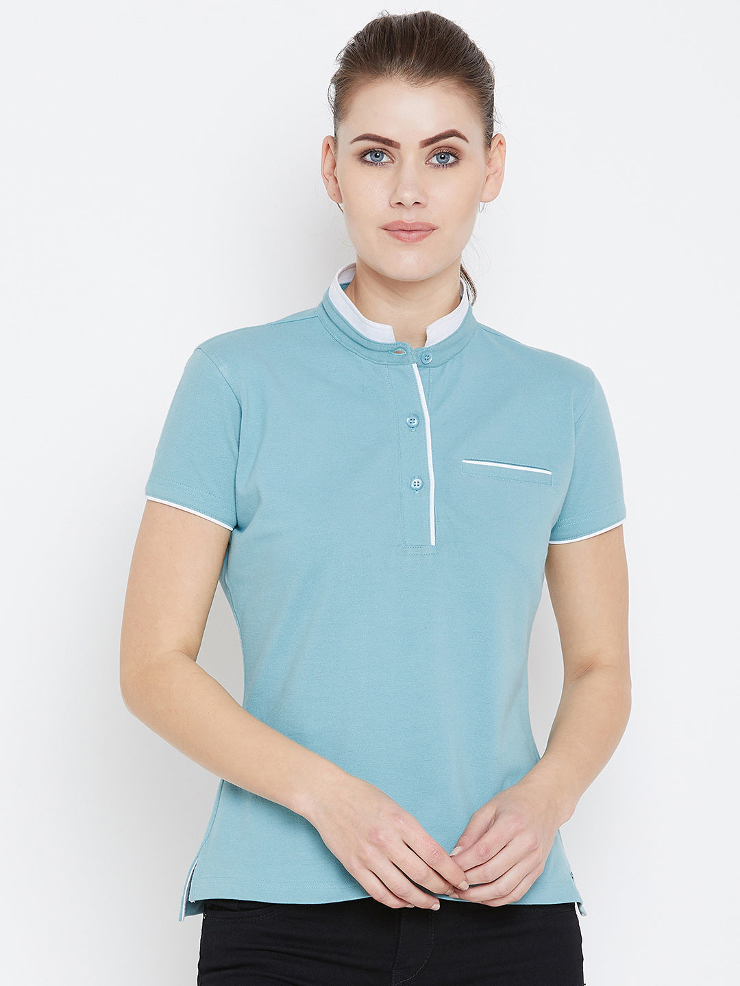 Women Blue Solid Casual Polo T-shirts