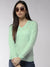 Women Self Design Teal Pullover