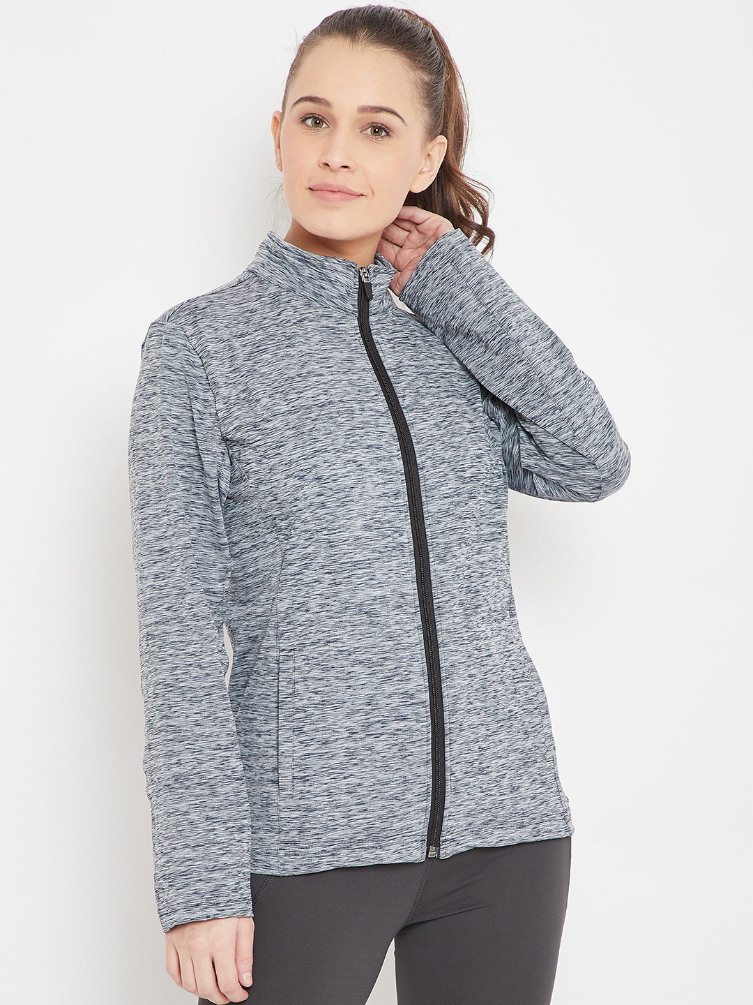 JUMP USA Women Sports Navy Blue Sporty Jacket_1