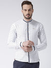 Men White Printed Cotton Slim Fit Shirt - JUMP USA