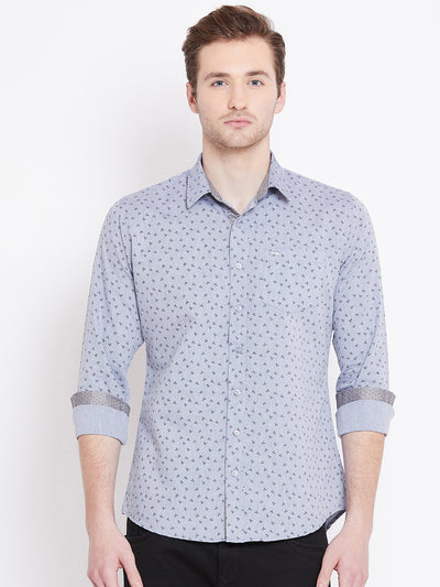 JUMP USA Men White Printed Casual Slim Fit Shirts_1