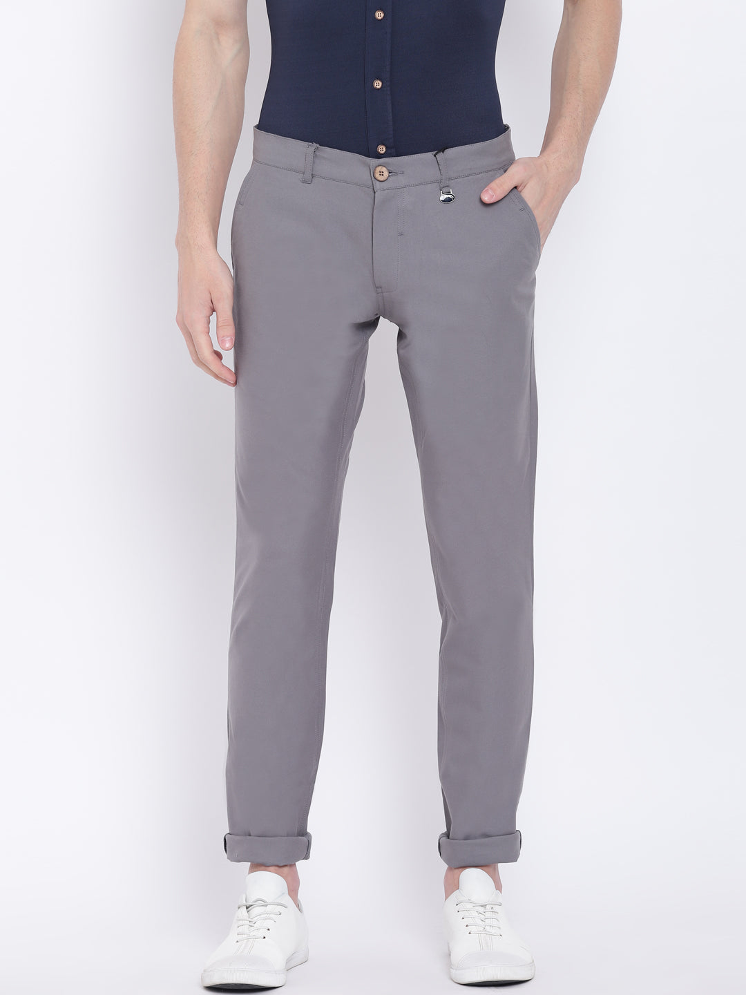 Men Casual Solid Grey Chinos