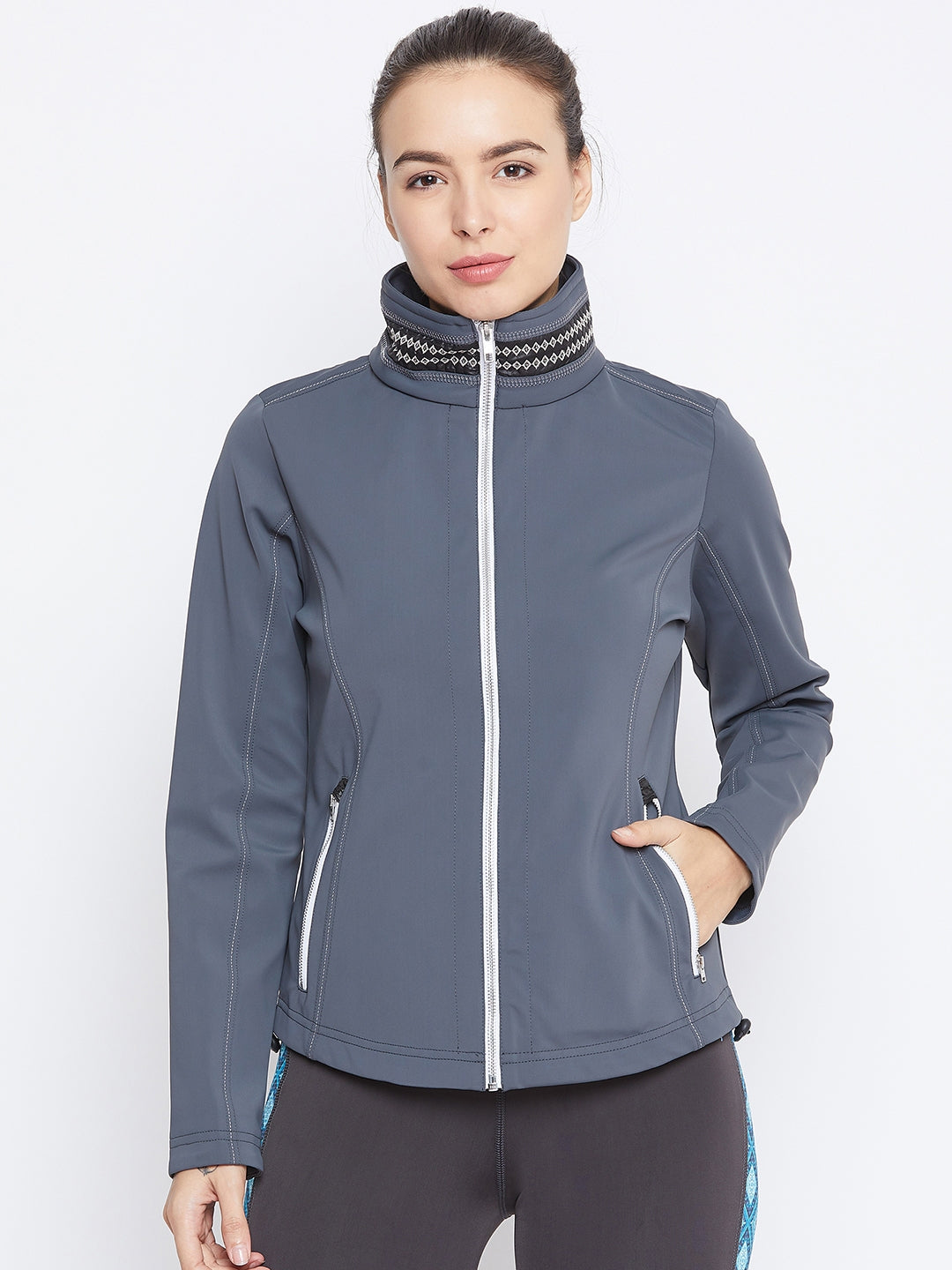 JUMP USA Women Grey Solid Sporty Jacket