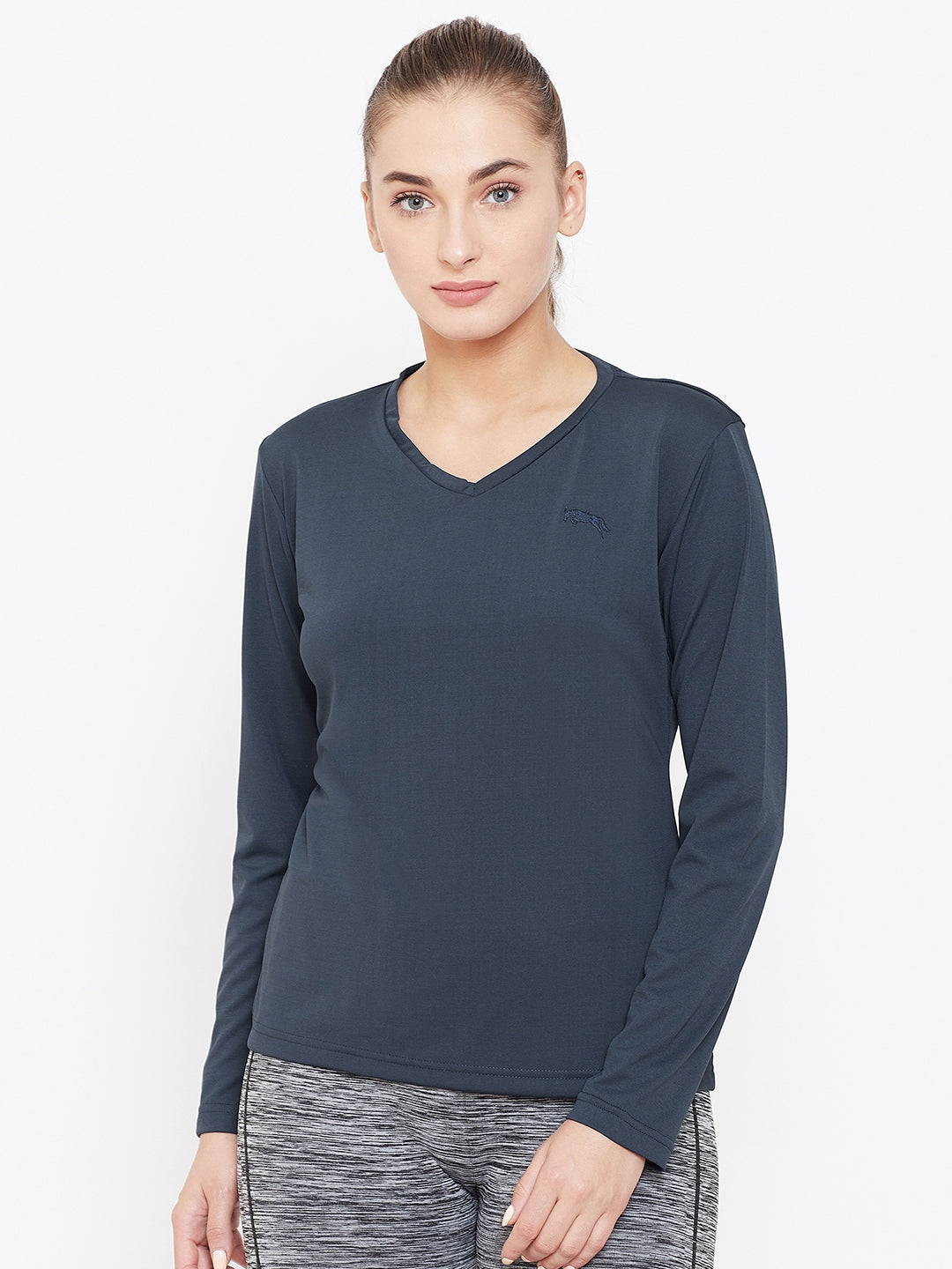Women Navy Blue Active Wear V-Neck T-shirt