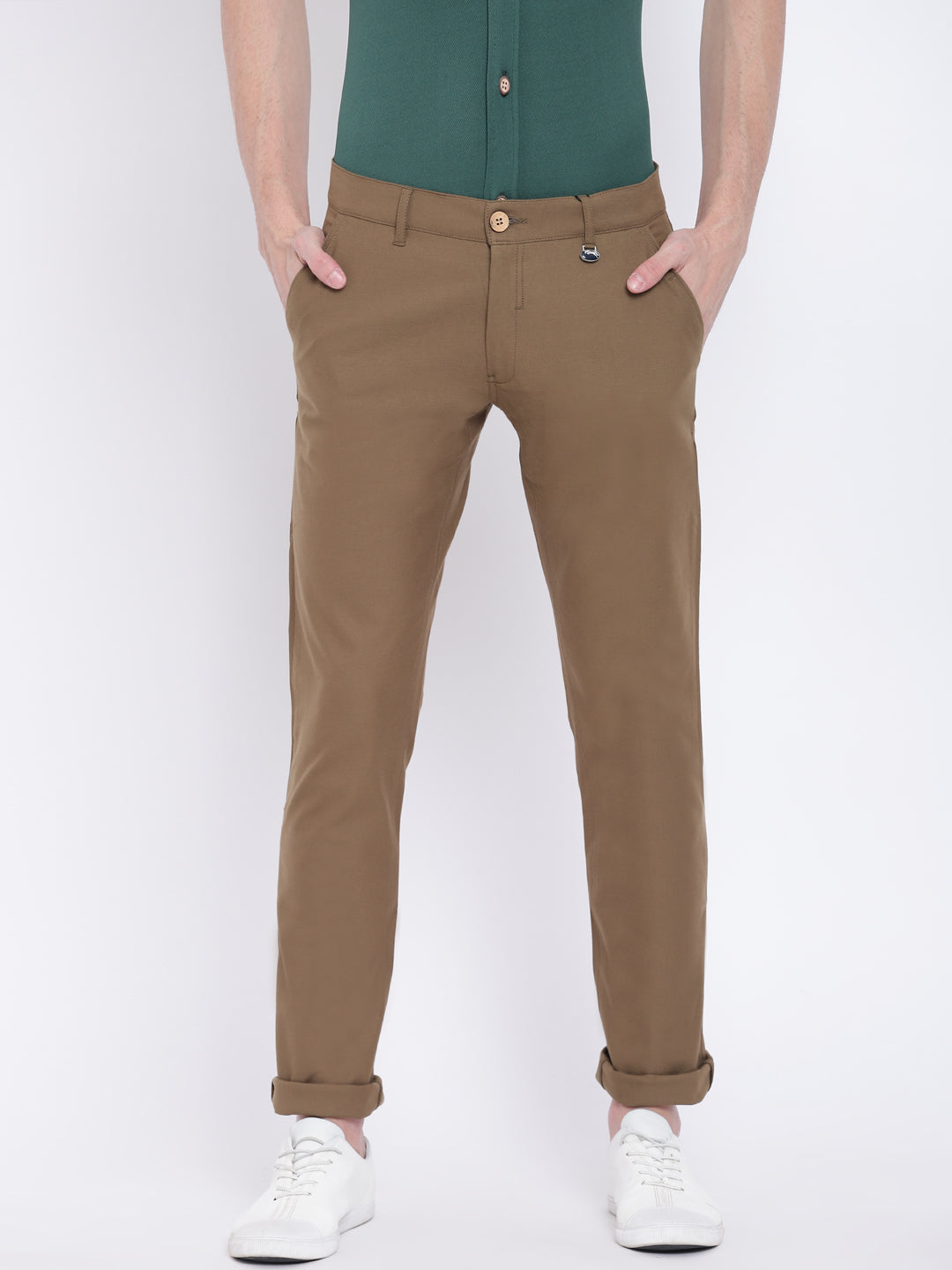 Men Casual Solid Olive Chinos - JUMP USA
