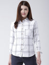 Women White & Navy Blue Slim Fit Checked Casual Shirt - JUMP USA