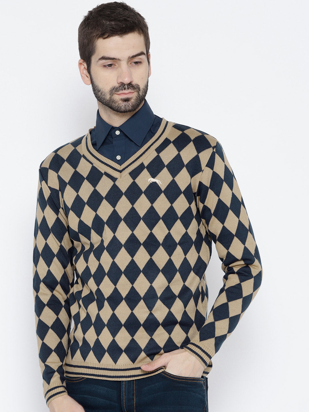 Men Beige and Navy Blue Colourblocked Pullover - JUMP USA