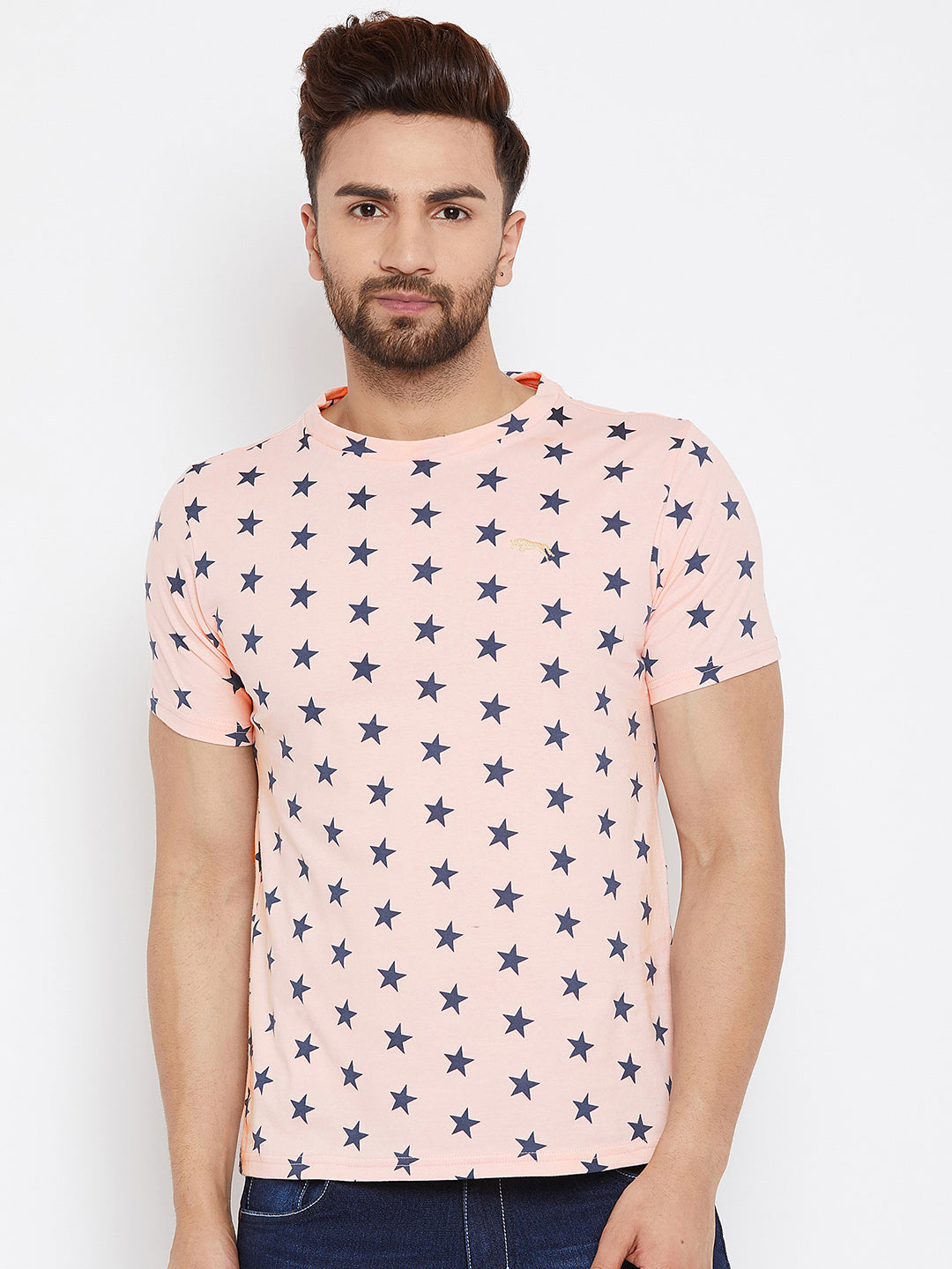 JUMP USA Men Pink Printed Round Neck T-Shirt