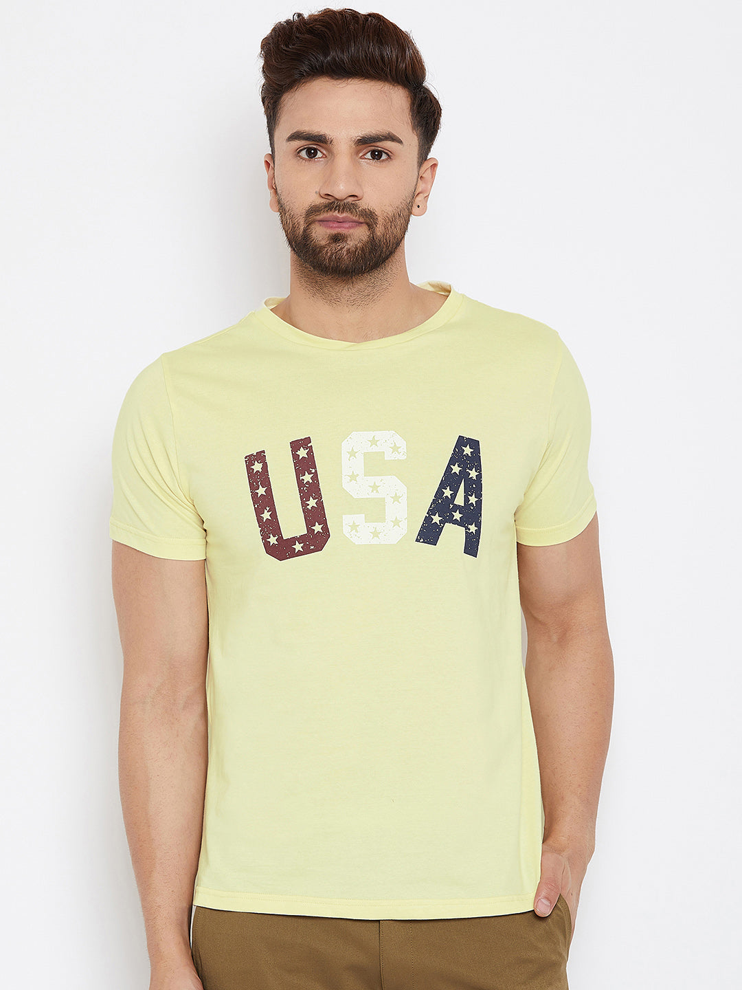 JUMP USA Men Yellow Solid Round Neck T-Shirt