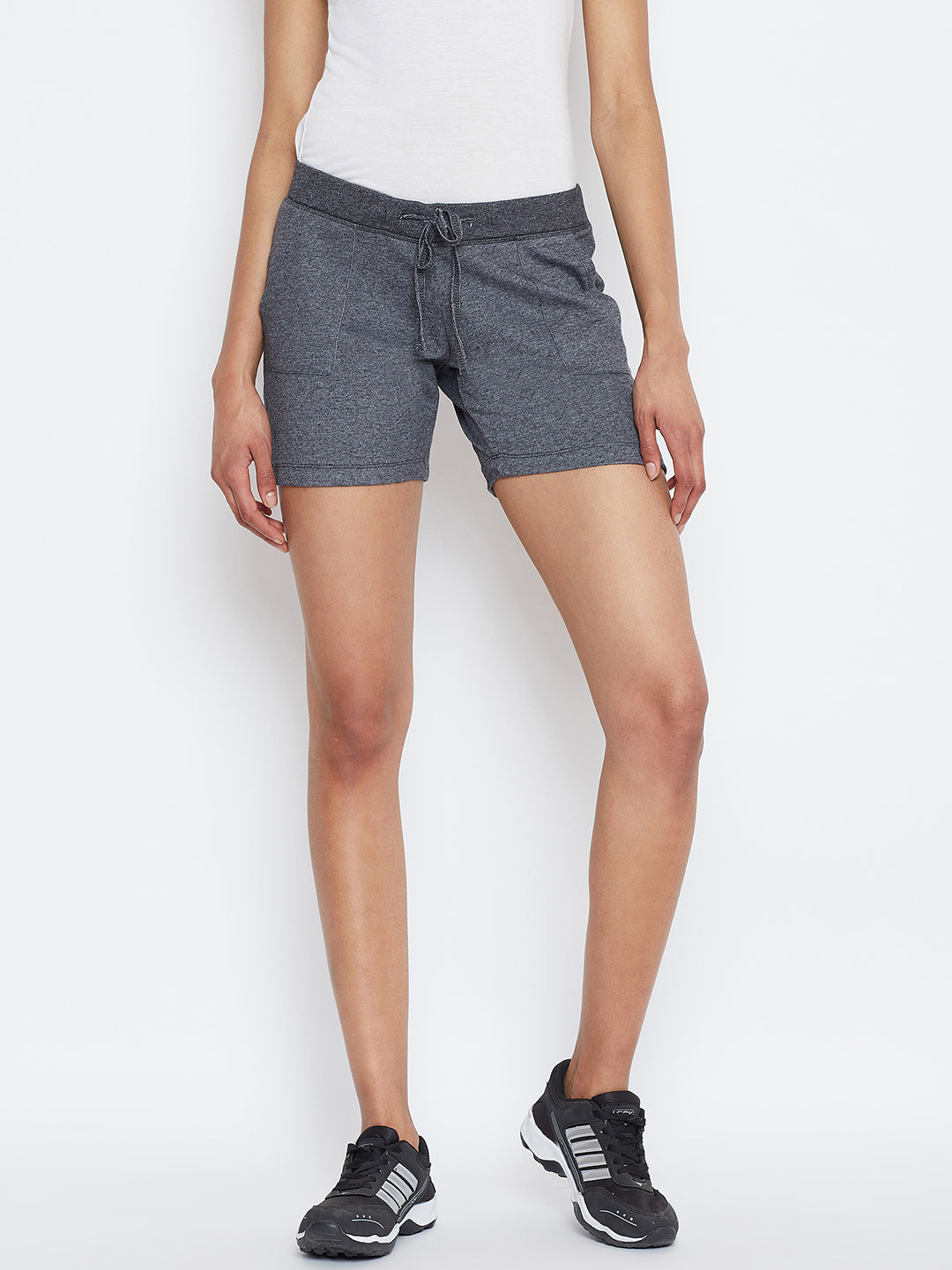 JUMP USA Women Grey Solid Shorts - JUMP USA