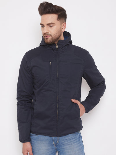 JUMP USA Mens Solid Navy Blue Hood Tailored Jacket