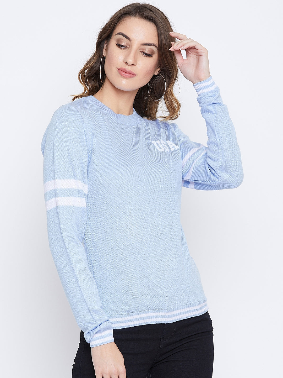 JUMP USA Women Blue Solid Sweaters
