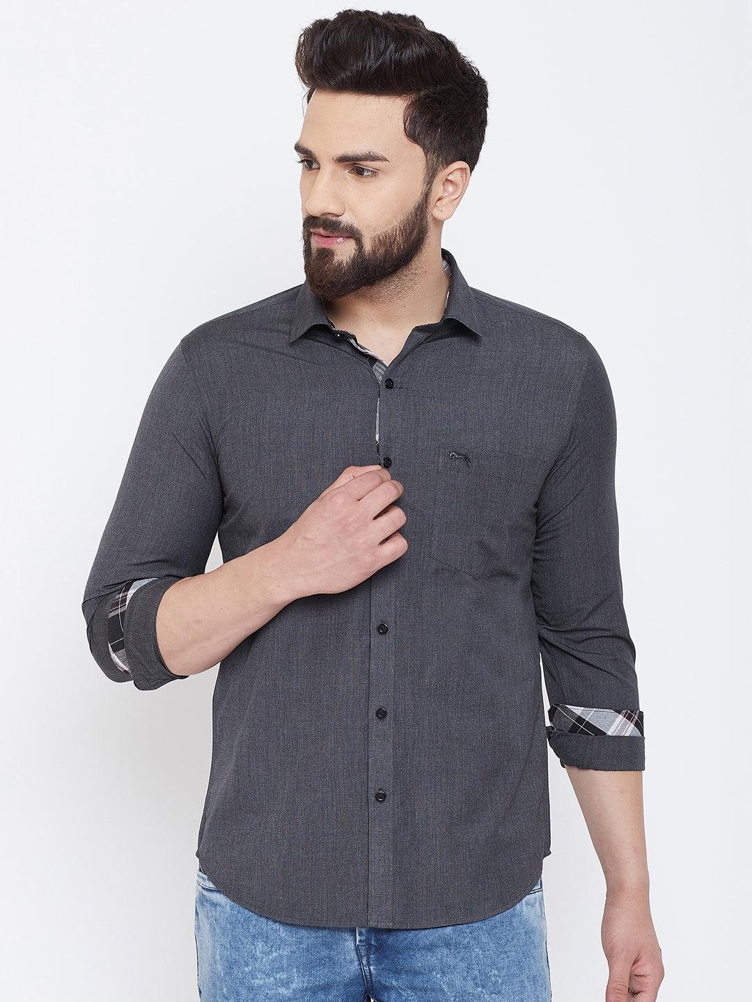 JUMP USA Men Charcoal Solid Cotton Casual Shirts