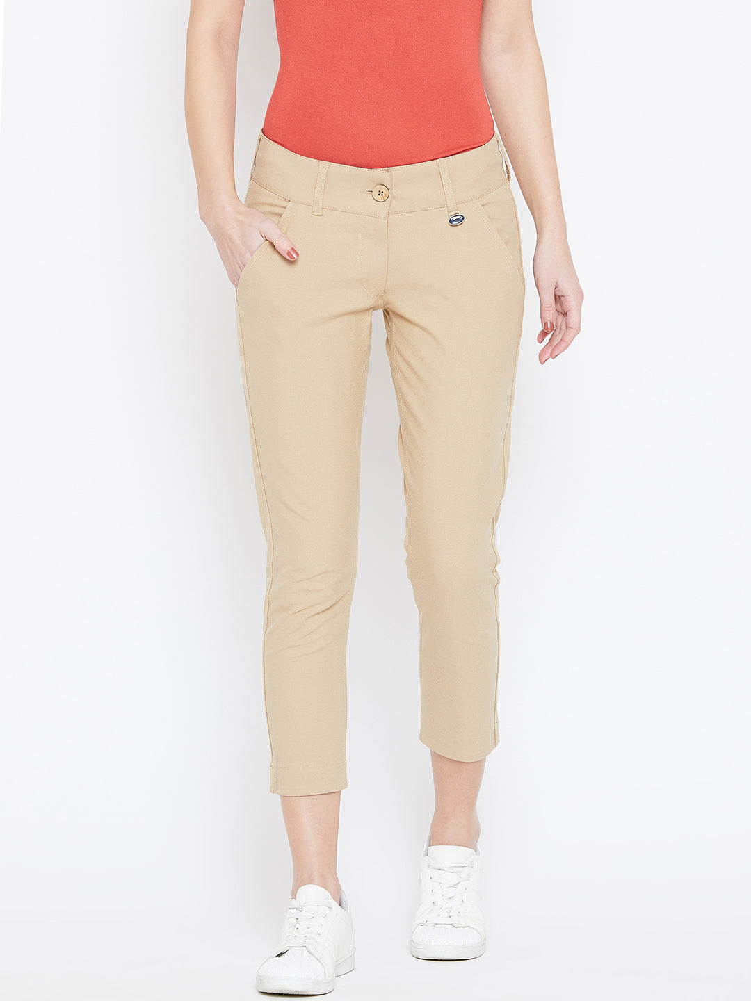 Women Beige Solid Skinny Fit Trousers