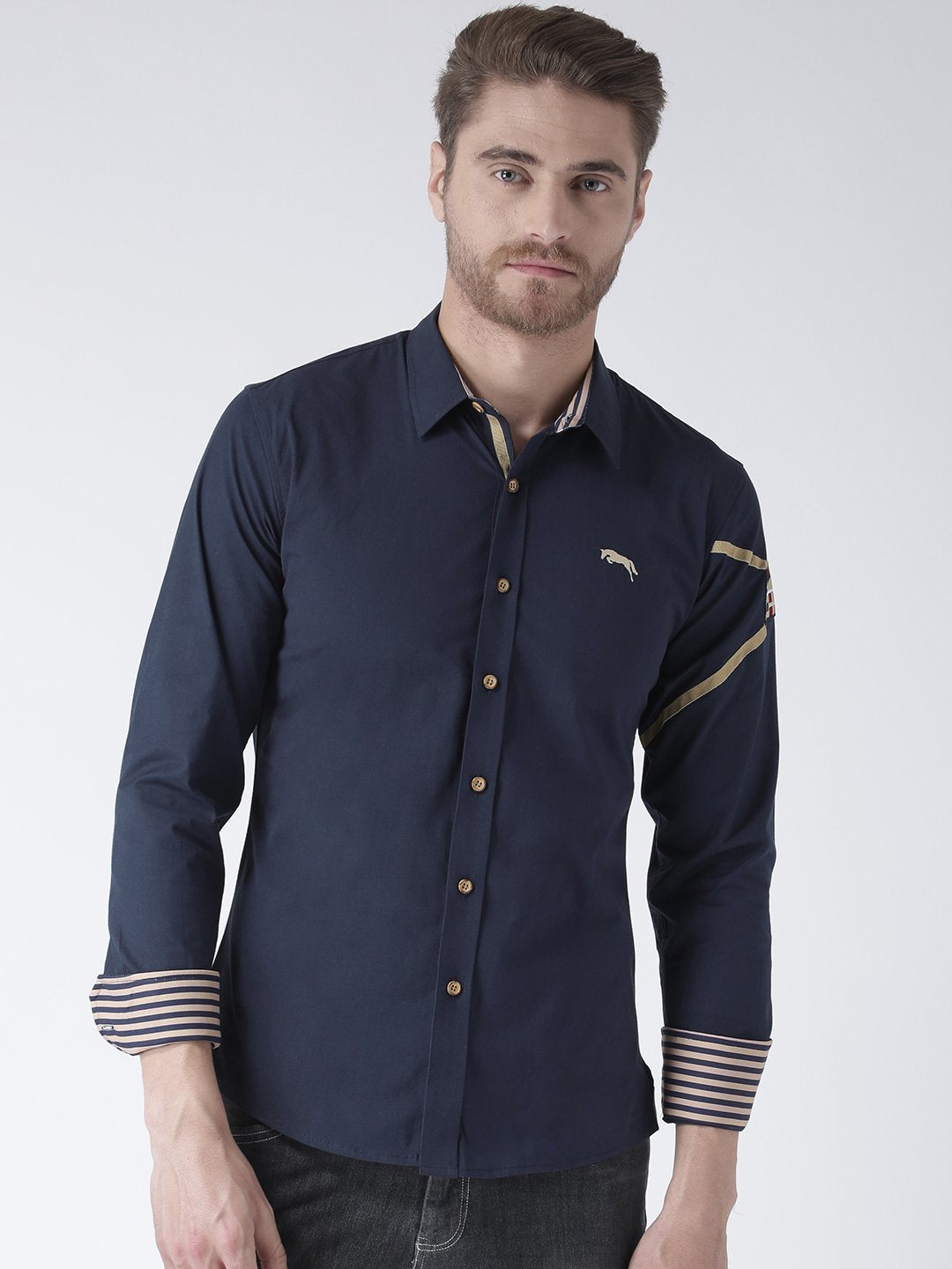 Men Navy Blue Solid Cotton Regular Fit Shirt