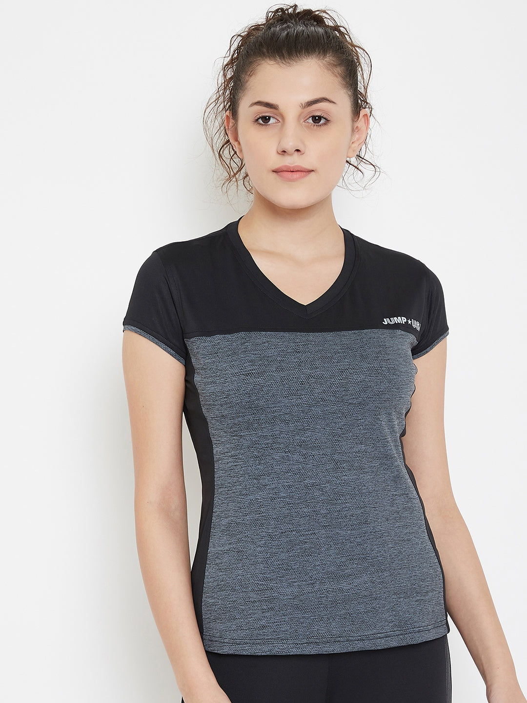 JUMP USA Women Black & Grey V-Neck Training T-shirt