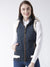 Women Polyster Casual Sleeveless  Navy Winter Jacket