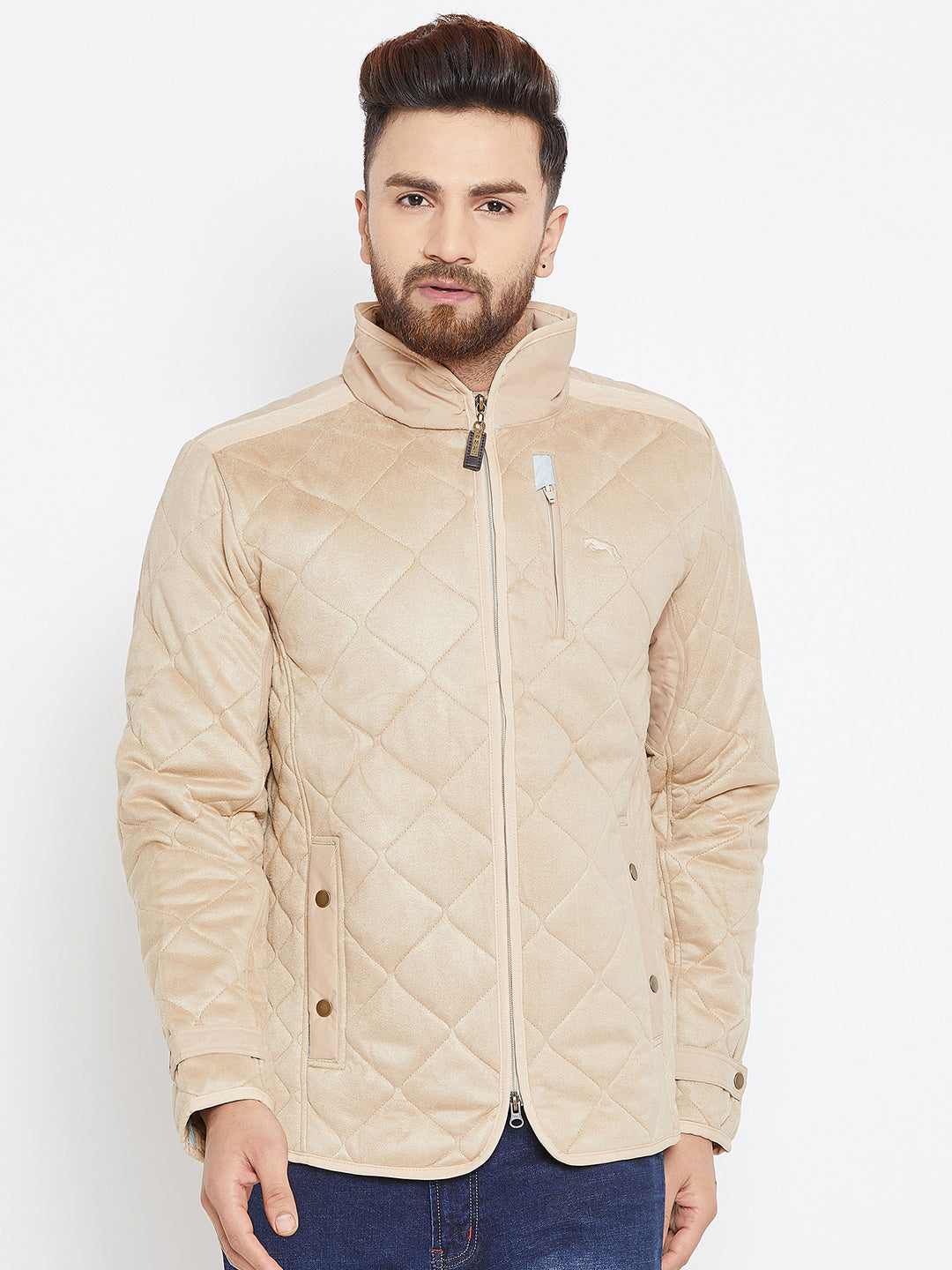 Men Beige Solid Quilted Jacket