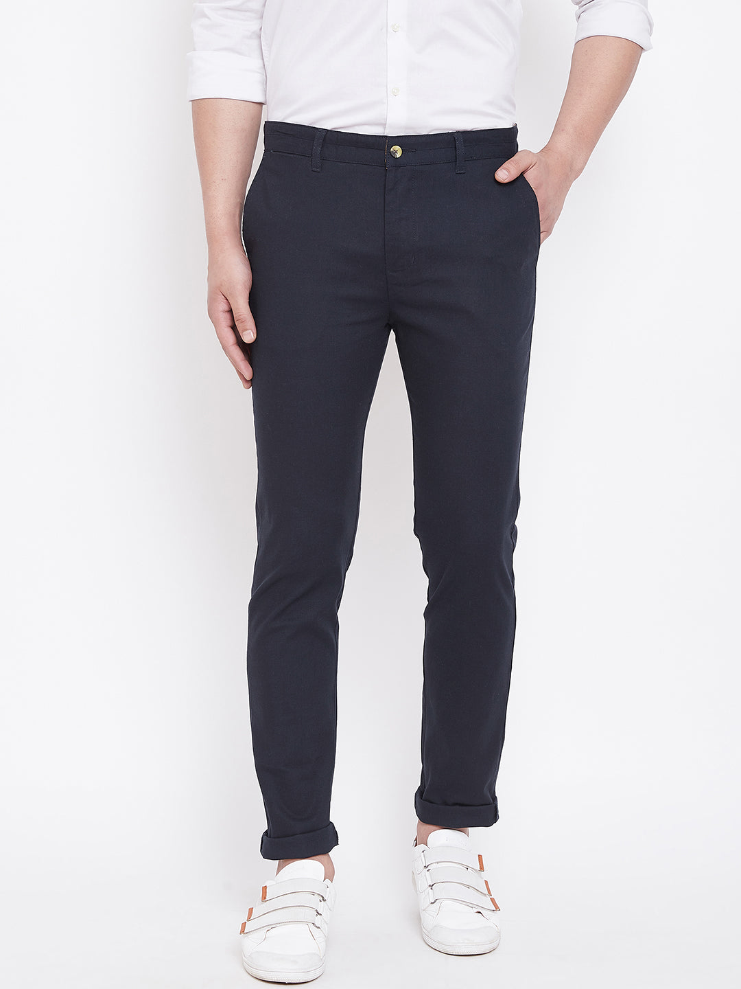 JUMP USA Men Navy Balue Casual Slim Fit Trousers - JUMP USA