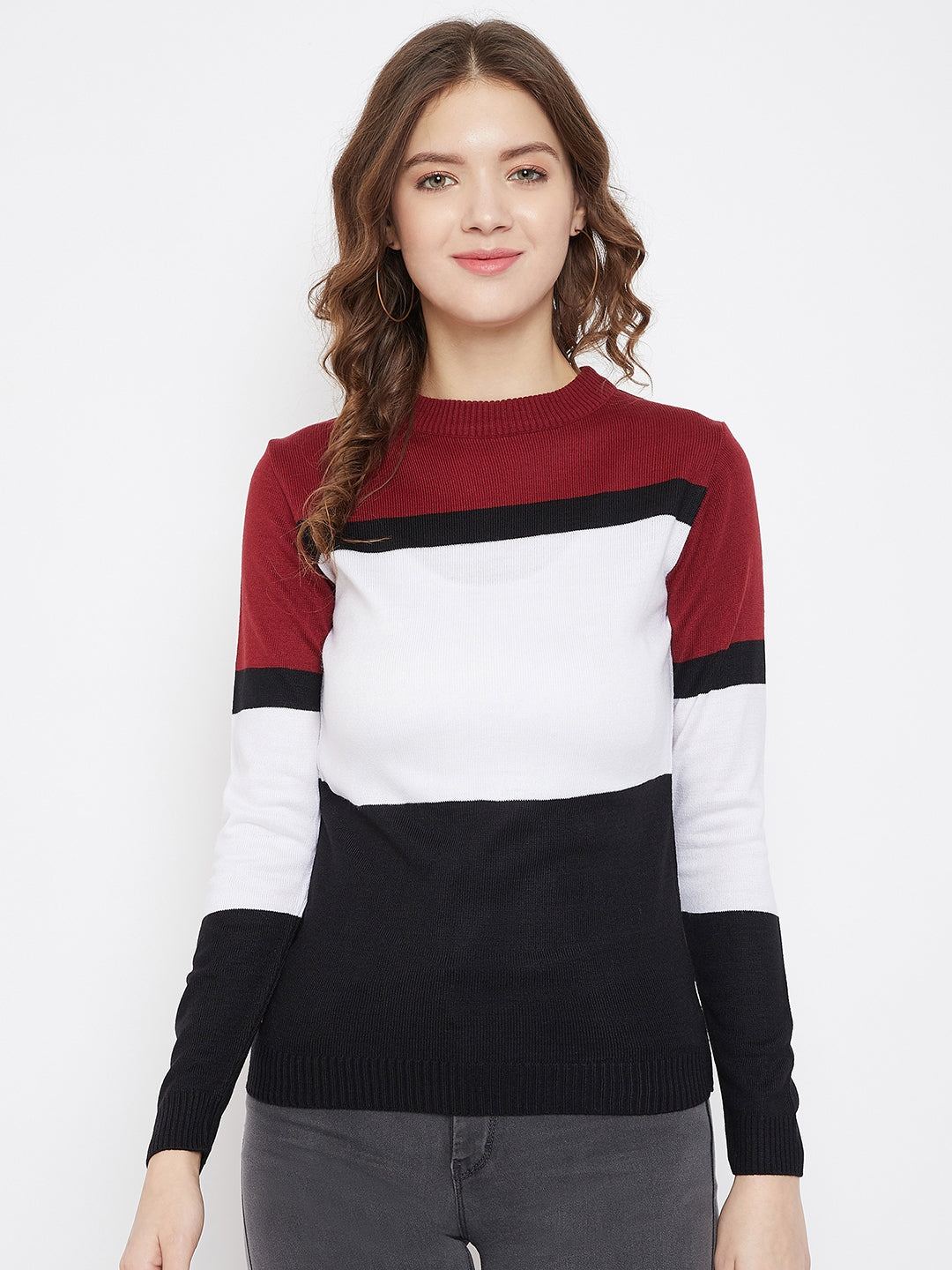 JUMP USA Women Black & White Colourblocked Pullover Sweater