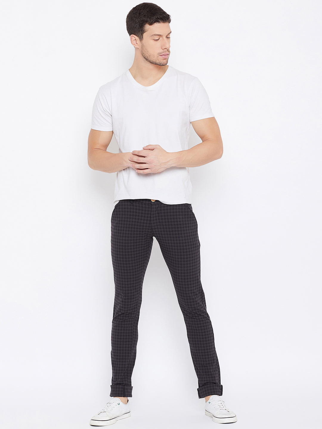JUMP USA Men Charcoal Casual Relaxed Fit Chinos