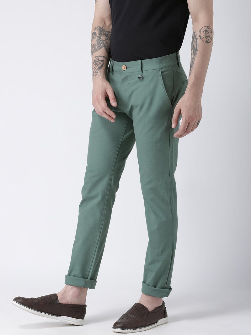 Men Grey Slim Fit Solid Chinos