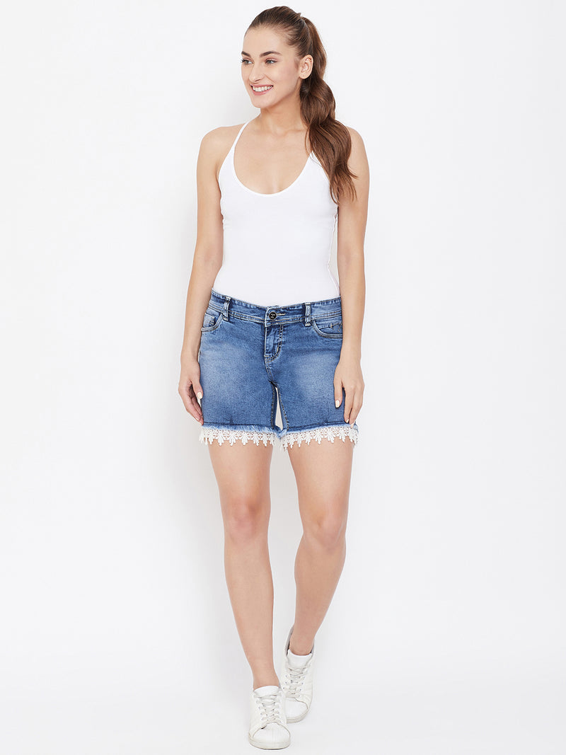 Women Blue Cloud Wash Casual Denim Shorts