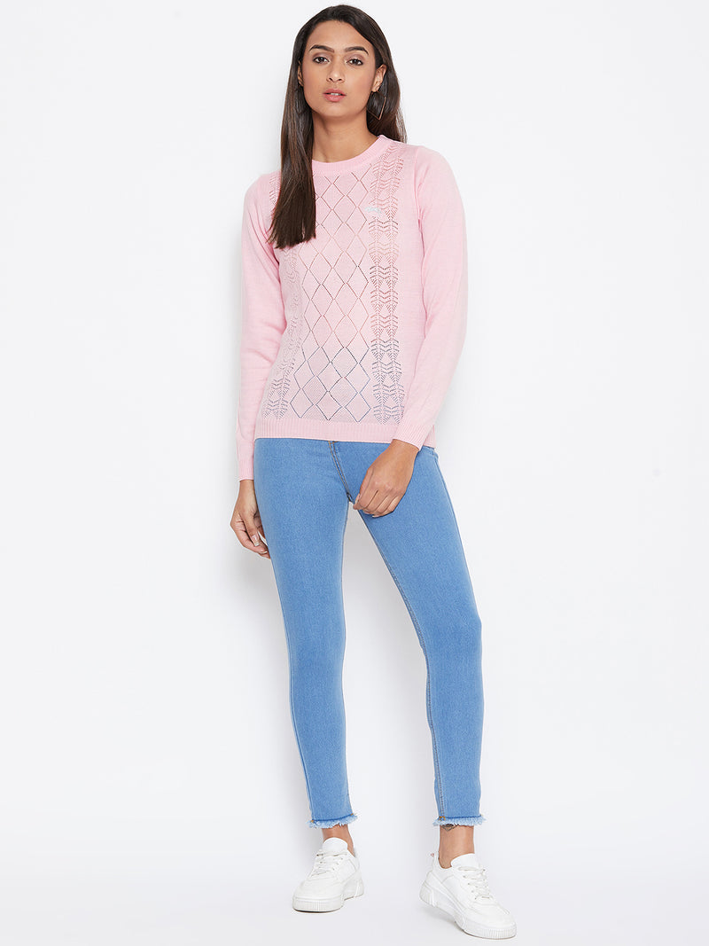 JUMP USA Women pink Self Design Casual Sweater - JUMP USA