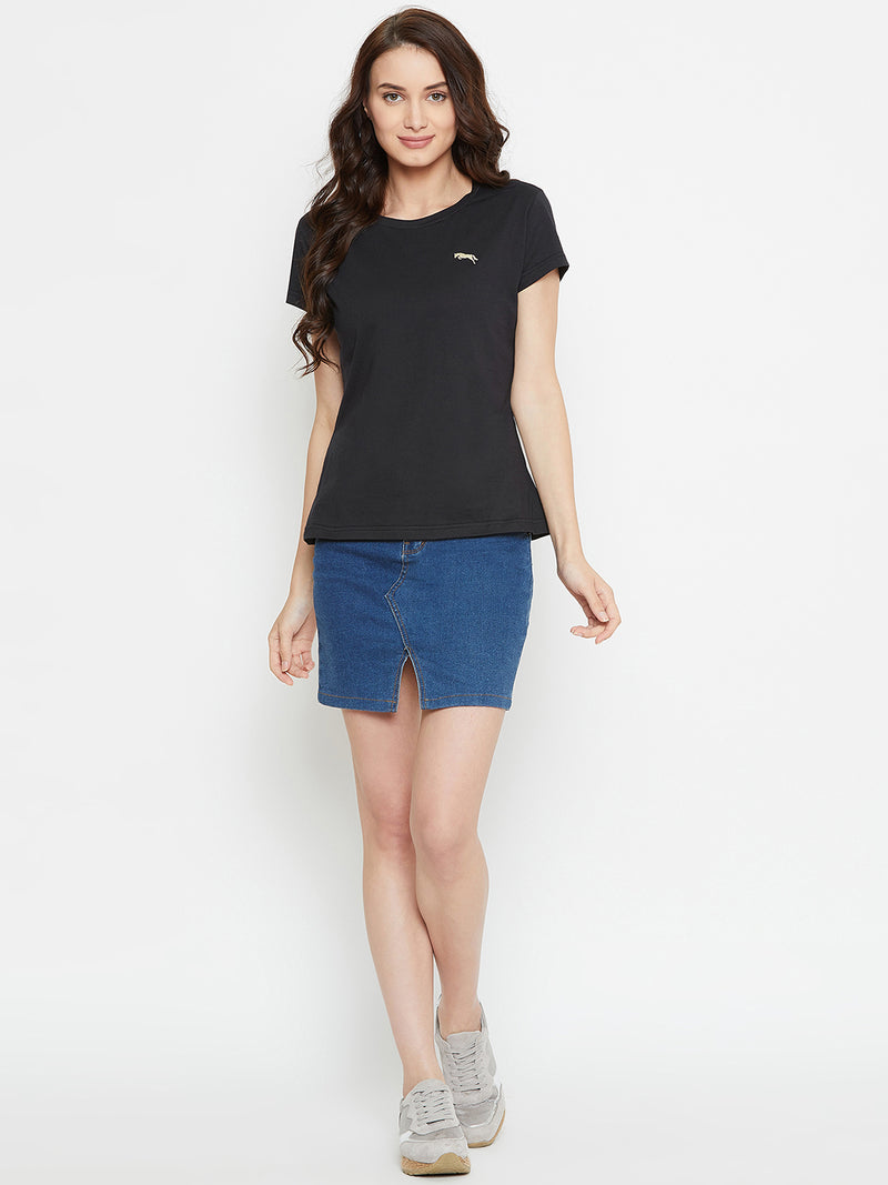 Women Black Solid Casual Round Neck T-shirt - JUMP USA