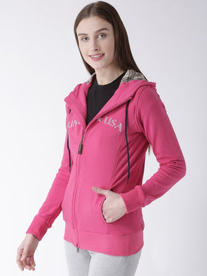 Women Cotton Casual Long Sleeve  Pink Winter Sweatshirt - Jump USA