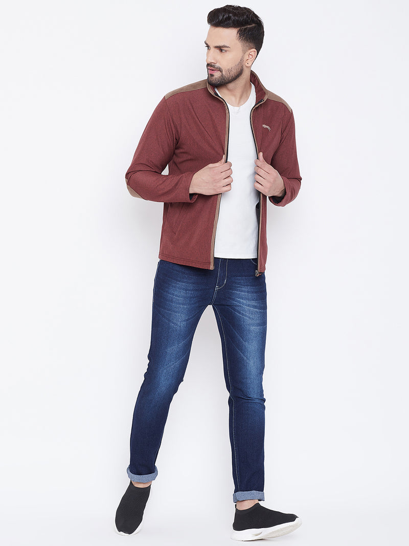 JUMP USA Men Red Solid Bomber Jacket