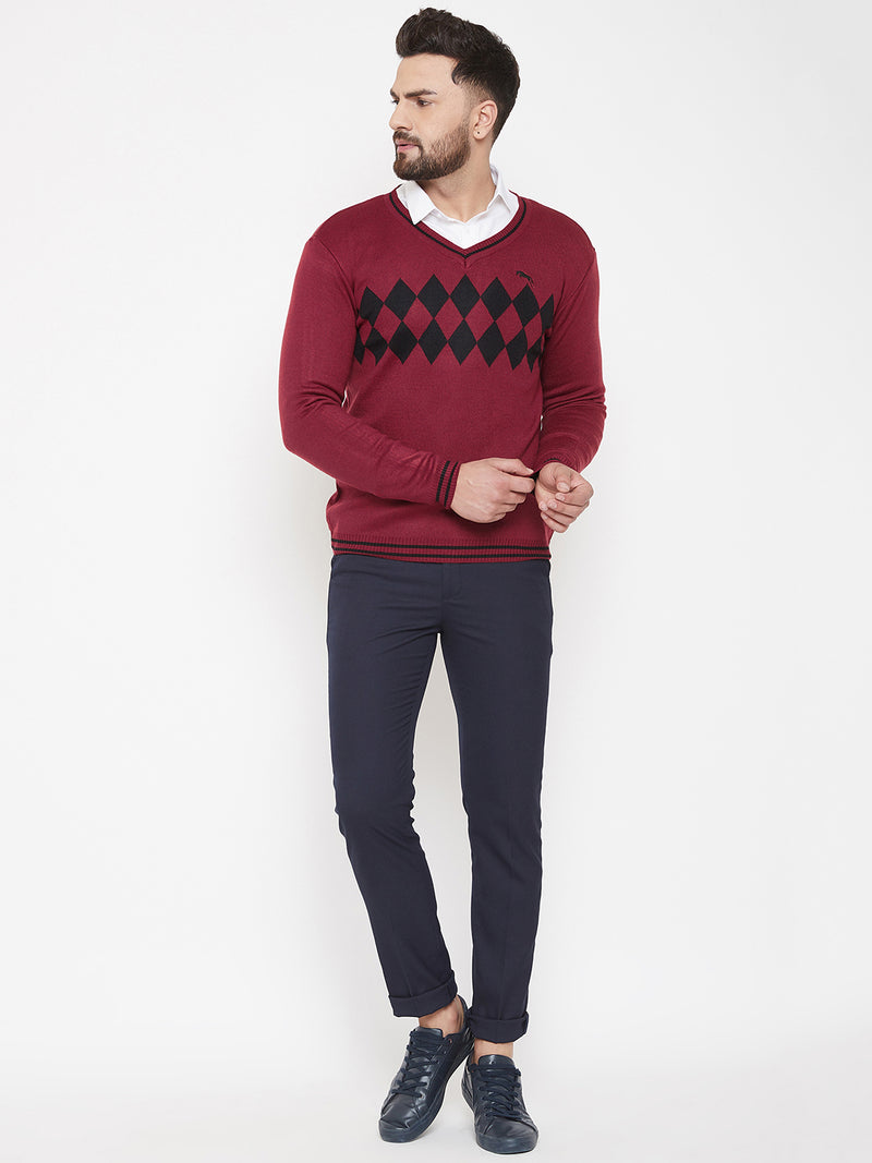 JUMP USA Men Red Self Design Sweater