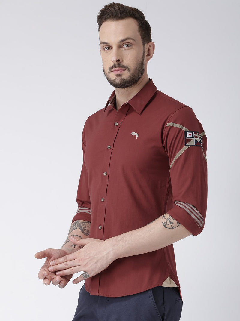 Men Red Solid Cotton Regular Fit Shirt