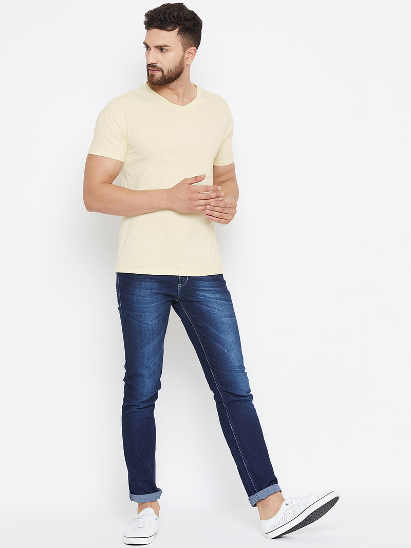 Men Beige Solid V Neck T-shirt