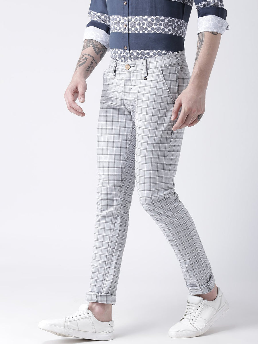 Men Off White Slim Fit Checked Chinos - JUMP USA