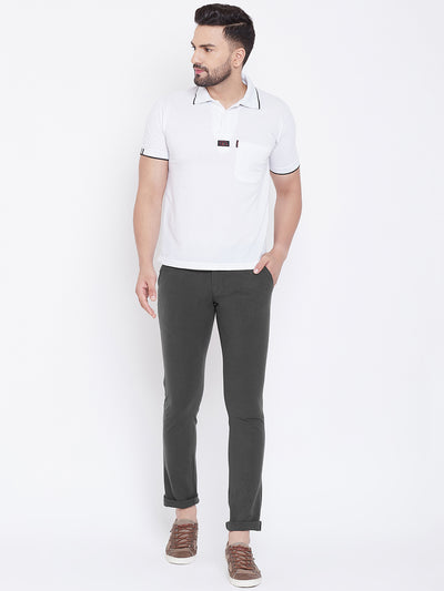 JUMP USA Men Charcoal Casual Slim Fit Solid Chinos - JUMP USA
