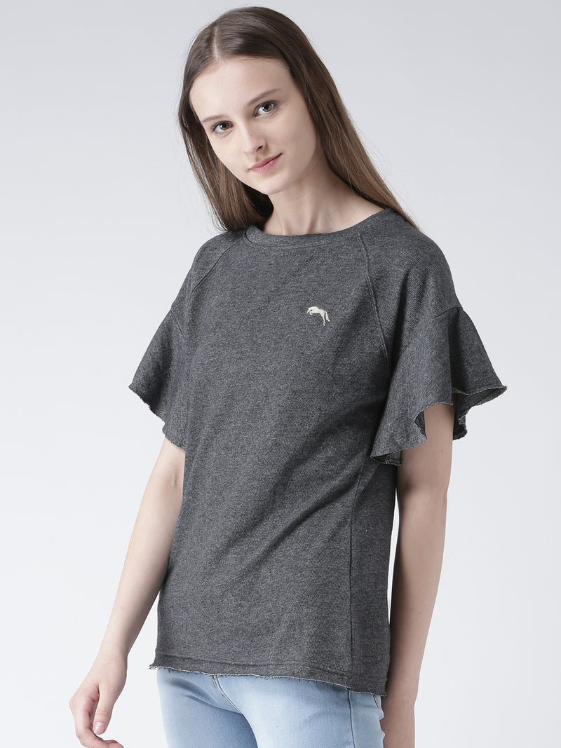 Women Charcoal Solid Polyester Top