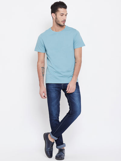 Men Blue Solid Round Neck T-shirt - JUMP USA