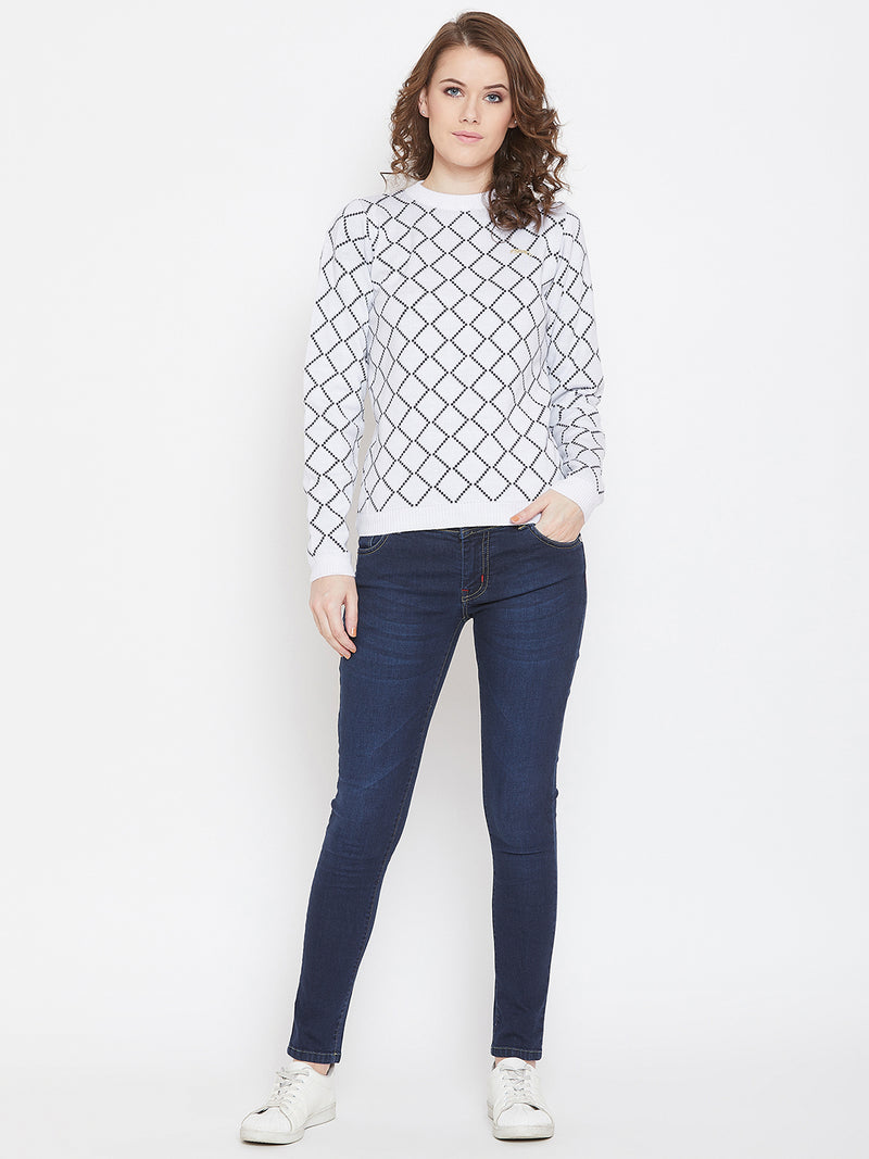 JUMP USA Women White & Navy Blue Acrylic Checked Sweater