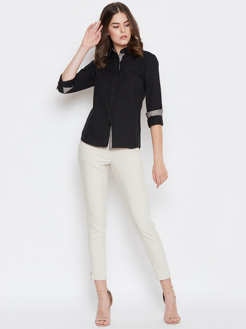 Women Black Solid Casual Slim Fit Shirt