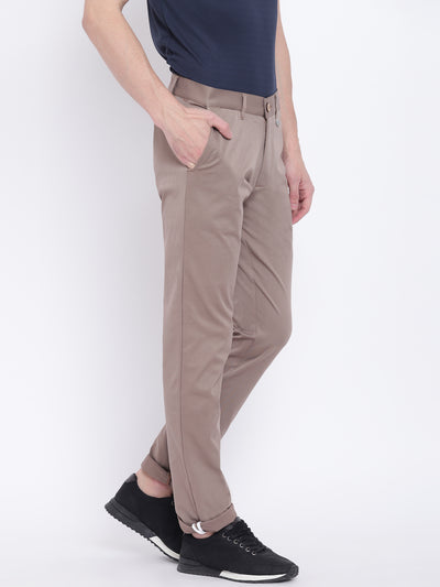 Men Casual Solid Grey Chinos - JUMP USA